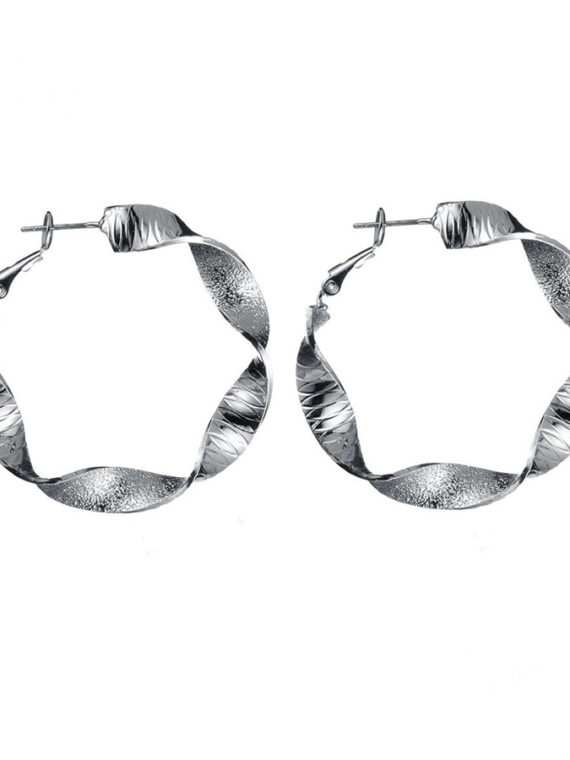 Twisted Rings Earrings – Silver