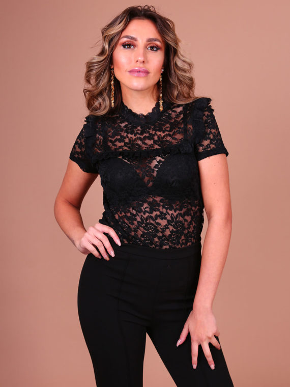 Lace Ruffle Top – Black