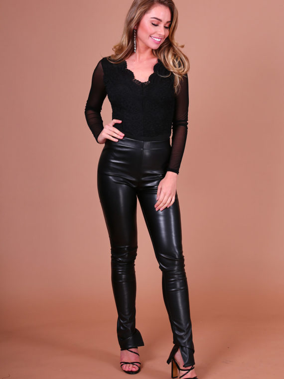 Leather Split Pants – Black