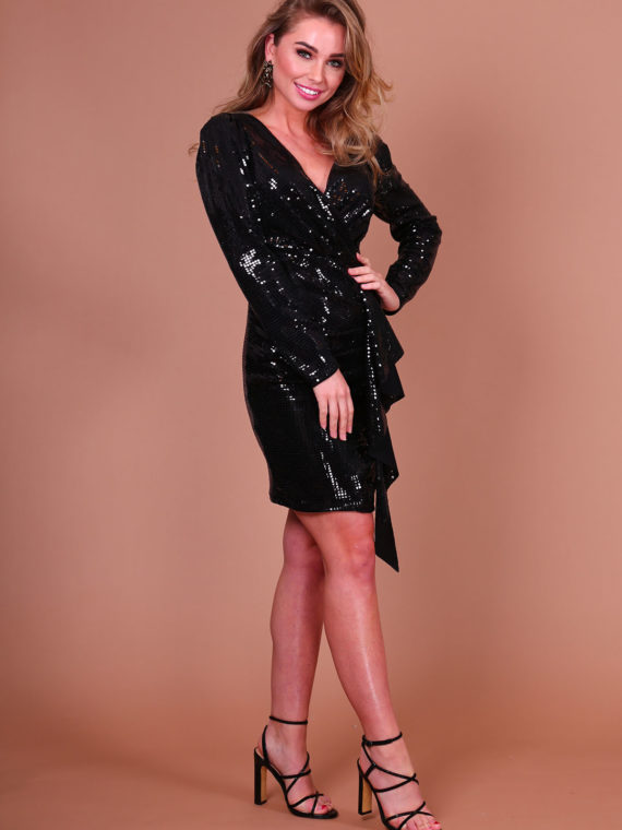 Metallic Ruche Dress – Black