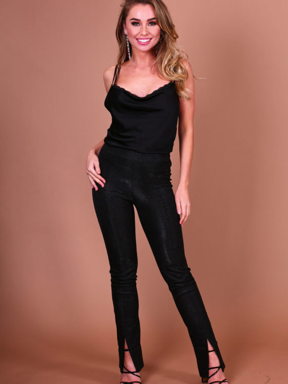 Sparkle Split Pants – Black