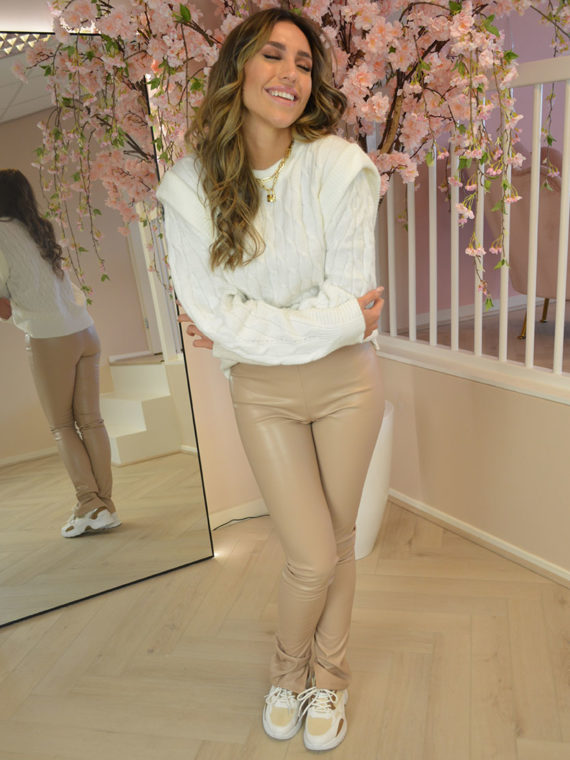 Leather Split Pants – Beige