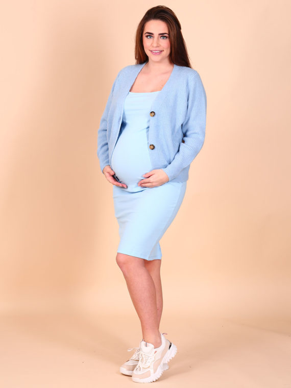Basic Rib Stretch Dress – Baby Blue