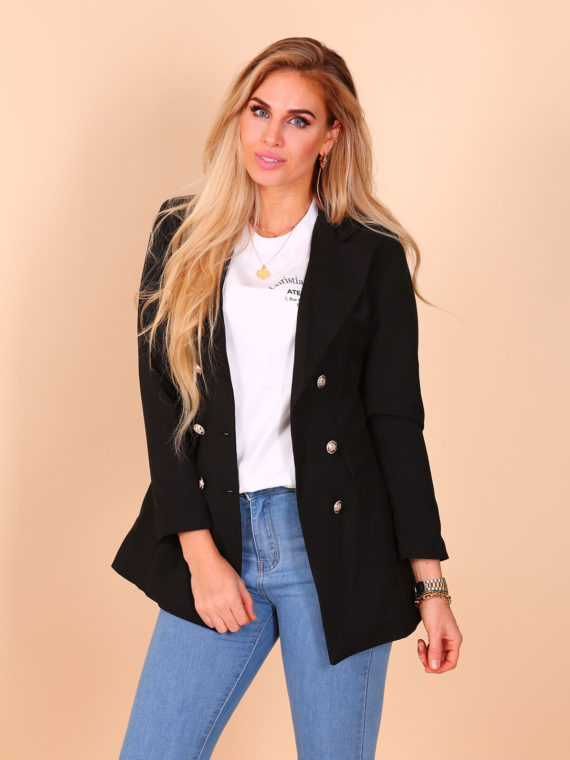Long Button Blazer – Black