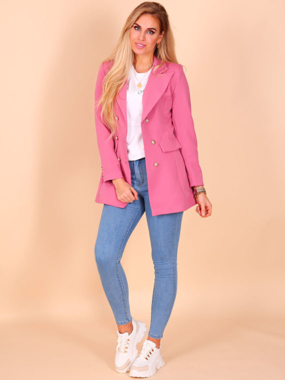 Long Button Blazer – Raspberry Pink