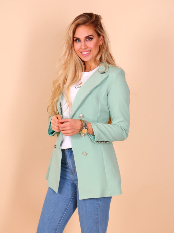 Long Button Blazer – Mint