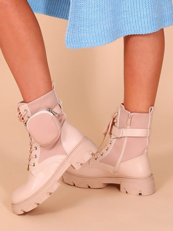 Chunky pocket boots – Beige