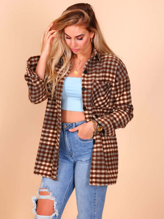 Checkered Button Blouse(jack) – Taupe/Blue