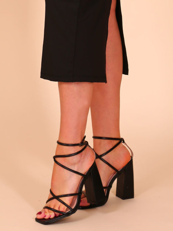 Perfect Strappy Heels – Black