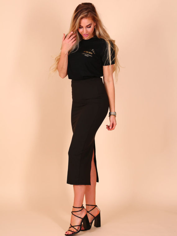 Maxi Split Stretch Skirt – Black