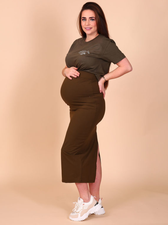 Maxi Split Stretch Skirt – Khaki