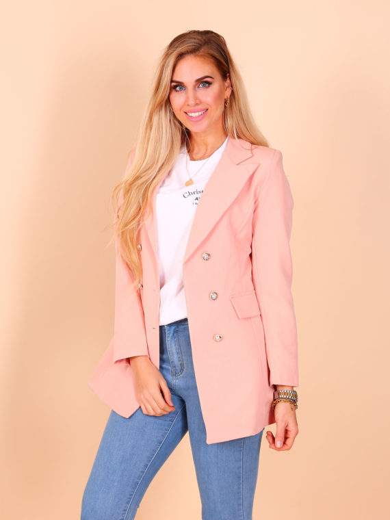 Long Button Blazer – Peach