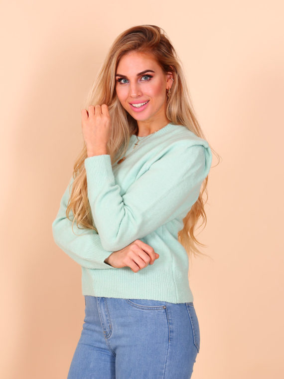Puffy Shoulder Sweater – Mint
