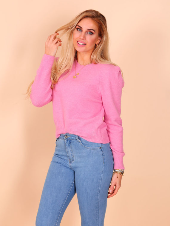 Puffy Shoulder Sweater – Pink