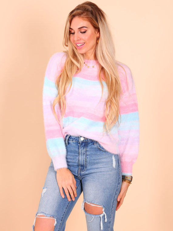 Pastel Rainbow Sweater – Pink/Blue