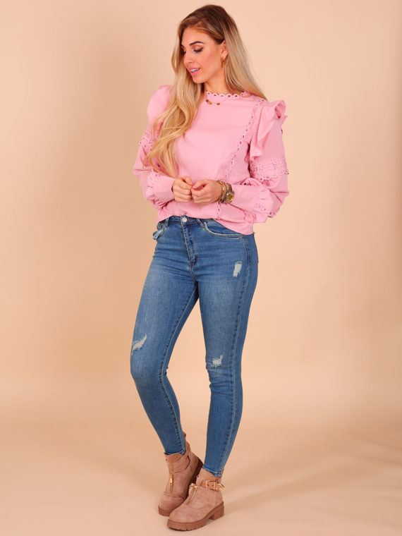 Broderie Blouse – Baby Pink