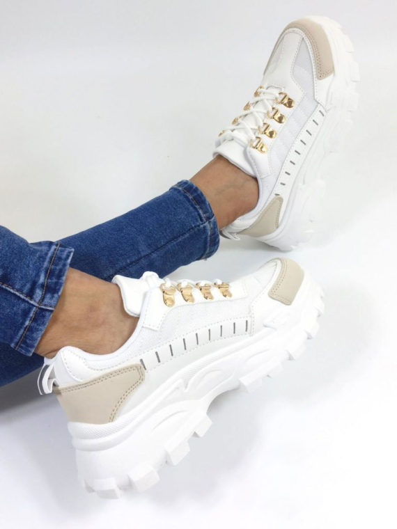 Fashion Sneakers – White/Gold