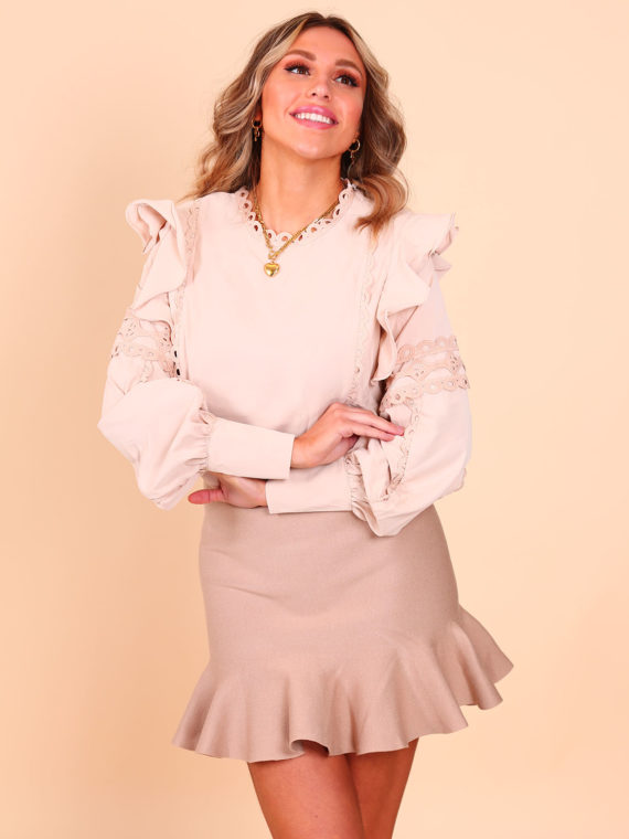 Broderie Blouse – Beige