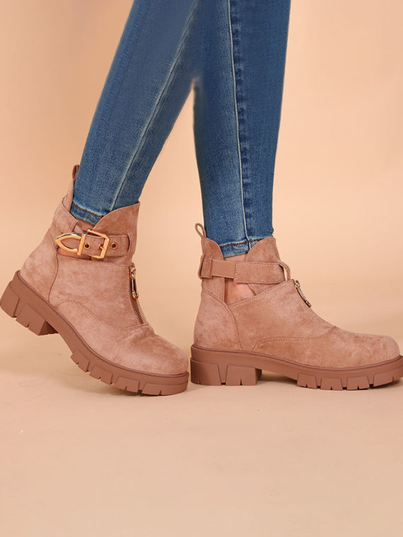 Zipper Chunky Boots – Sand