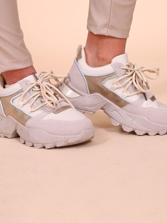 Metallic Sneakers – Beige