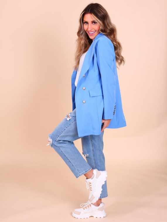 Long Button Blazer – Jeansblue