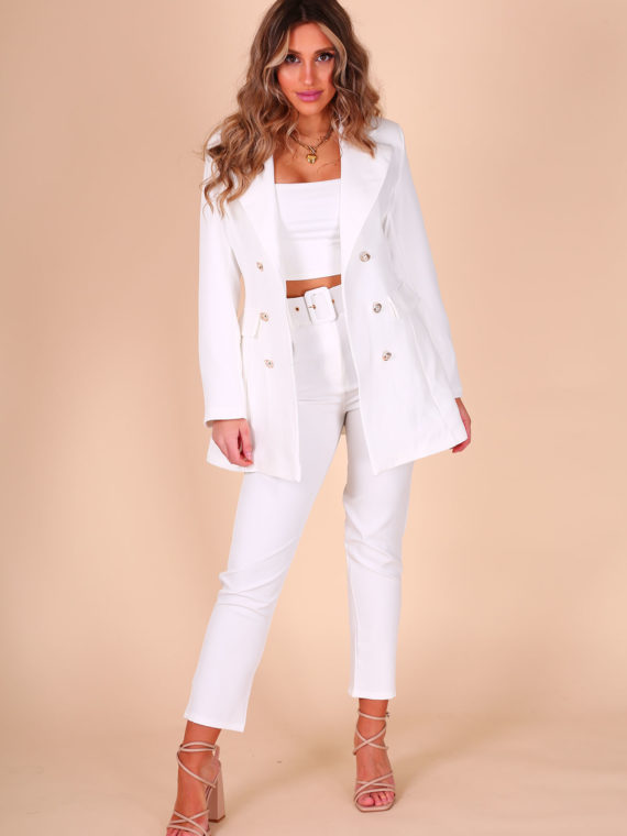 Luxe Set – Wit (Pantalon + Blazer)