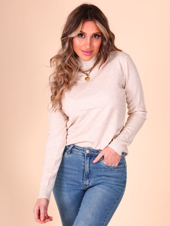 Basic High Neck Top – Beige