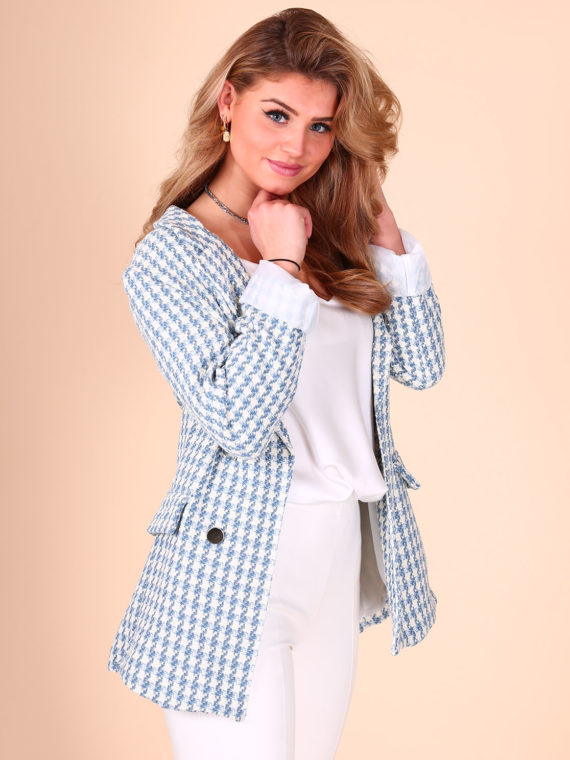 Houndstooth Button Blazer – Blauw