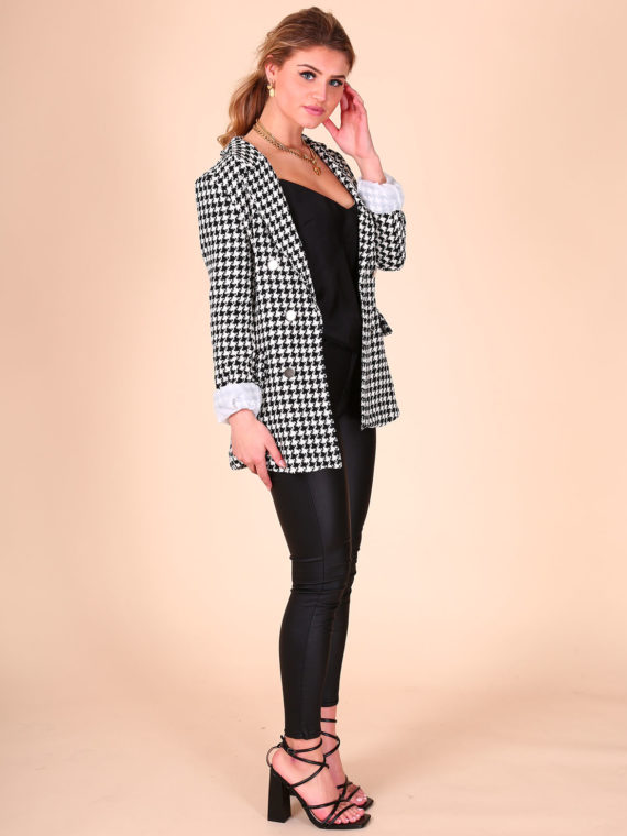 Houndstooth Button Blazer – Zwart