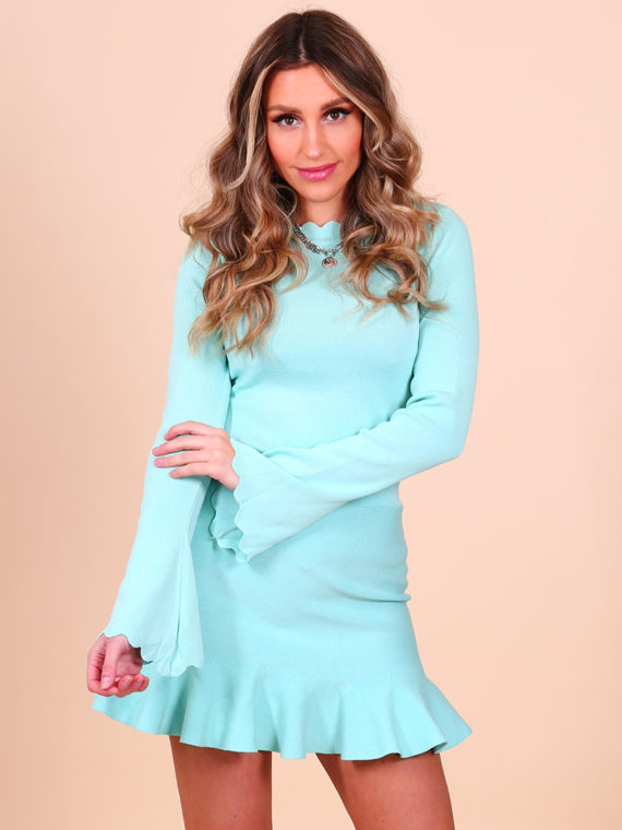 Flare Mouw Top – Turquoise