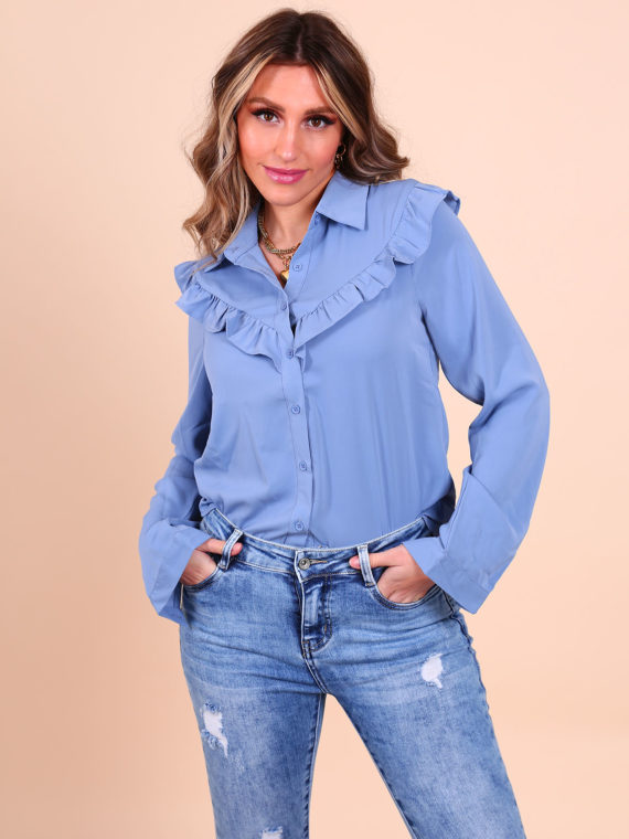 Ruffle Blouse – Jeansblauw