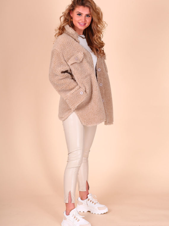 Fluffy Teddy Pocket Blouse(jack) – Taupe