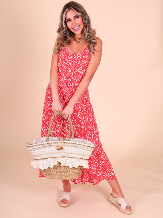 Dotted Maxi Jurk – Rood