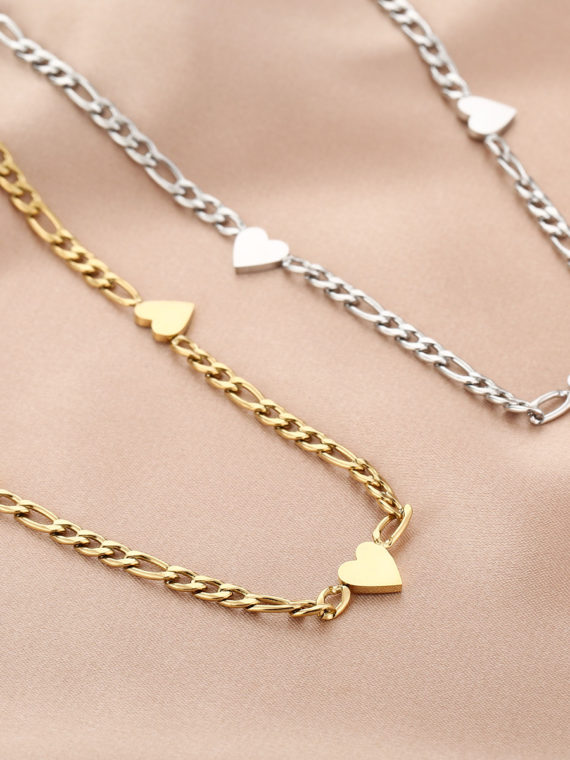 MB – Chunky Chain Hart Ketting (goud of zilver)