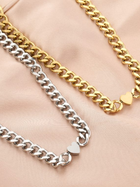 MB – Big Chunky Chain Hart Ketting (goud of zilver)