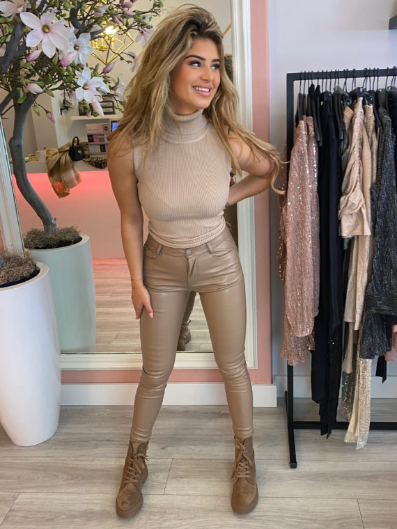 Mouwloze Coll Top – Taupe
