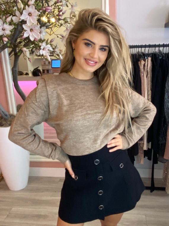 Shoulder Knit Trui – Taupe